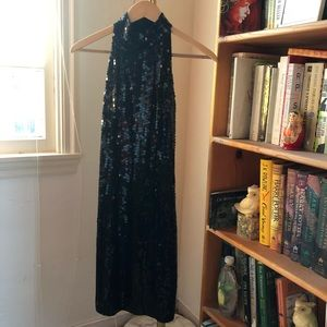 Vintage Black Sequined Halter Dress